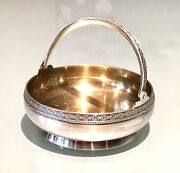 Vintage Antique 1960' Russian Silver 875 Embossed Round Plate Dish Bowl Basket