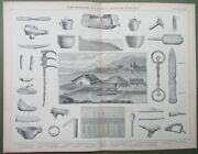 Lake Pile Dwellings Bronze Age Tools Axes Harpoon Chisel Antique Print 1874