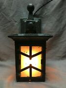 Antique Mission Wall Sconce Cast Iron Frosted Glass Exterior Light Vtg 1087-20b