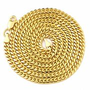 14k Yellow Gold 3.5mm Solid Miami Cuban Necklace With Lobster Lock 20 - 30