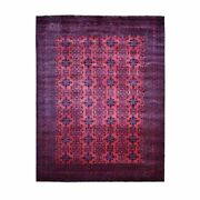 9'10x12'7 Saturated Red Tribal Afghan Andkhoy Wool Hand Knotted Rug G55346
