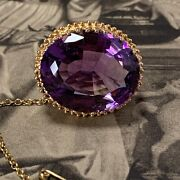 Antique Amethyst Brooch 22ct Yellow Gold 18.36ct Late 19th Century