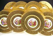 12 Royal China Germany 22 Carat Gold Encrusted Dinner Plates