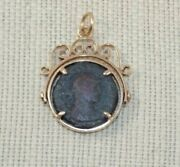 Antique Victorian 10k Yellow Gold Spinner Fob W/ A Bronze Ancient Roman Coin 13g