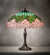 Pink Rose Style Stained Glass Table Lamp