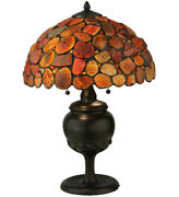 Agate Red Stone Table Lamp Made Copper Foil Style W Natural Stones