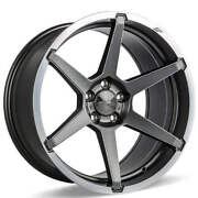 4 19 Staggered Ace Alloy Wheels Aff06 Titanium With Machined Lip Rimsb42