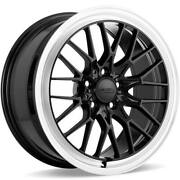 4 19 Staggered Ace Alloy Wheels Aff04 Gloss Piano Black With Diamond Lipb42