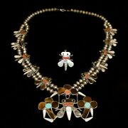 Old Pawn/estate Zuni Inlay Insect And Flower Necklace And Ring Set