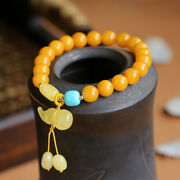 Chinese Natural Beeswax 8mm Round Beads Gourd Hand Chain Pretty Vogue Bracelet