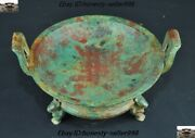 Chinese Dynasty Bronze Ware Text Inscription Cicada Mouse Statue Plate Dish Tray