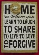 Burlap Wall Décor Plaque Home Is Where You Learn To Laugh Farmhouse 9.5x13.5