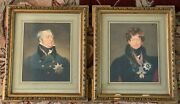 Antique Watercolor Portraits Of Noble Decorated Officers