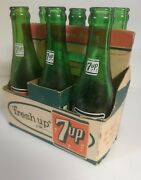 7-up Six Pack Cardboard Carrier With 6 Bottles
