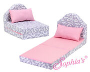 Pink And Grey Chair/fold Out Bed Fits American Girl Dolls Kidz N Cats - 18 Dolls