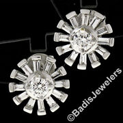 New Unique 18k White Gold 1.02ctw Round And Baguette Snowflake Post Stud Earrings