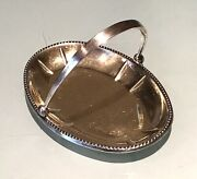 Vintage Antique 1960 Russian Silver 875 Engraved Oval Plate Dish Bowl Basket Old