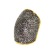 18k Yellow Gold 6.04ct Pave Diamond Sterling Silver Dome Ring Vintage Jewelry