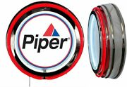 Piper Aircraft Logo Sign Neon Sign Red Outside Neon No Clock Airplane