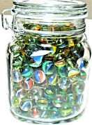 Mixed Lot Glass Jar Full Of Dozens Glass Marbles-5 Pounds-includes Shooters Jar