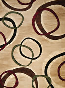 Beige Rings Loops Hoops Swirls Circles Door Mat 702 33426 - Aprx 2and039 7 X 4and039 2