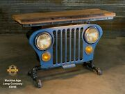 Steampunk Industrial Machine Age Lamp Jeep Grille Table Willys Console Hallway