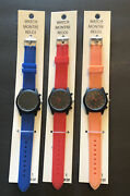 Lot Of 3 Women's Watches Silicone Band Blue Red Coral Orange
