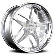 4 22 Staggered Lexani Wheels Solar Silver Machined With Ss Lip Rimsb41