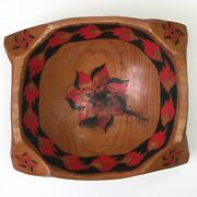 Vintage Winged Hand Crafted Carved Painted 12 Floral Flame Leaves Wooden Bowl