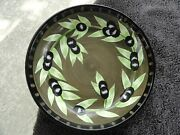 Laurie Gates Olives Dark Green Black Olive Green Leaves Individual Pasta Bowl
