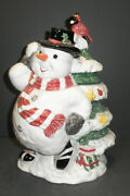 Fitz And Floyd Chunky Snowman Cookie Jar- New In Box -2098/123