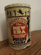 Vintage The New Era Potato Chip Tin Can And Lid