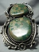 One Of The Best Vintage Navajo Green Turquoise 1977 Sterling Silver Bracelet