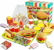 59pcs Fast Food Toys Play Food Toy Set,kitchen Pretend Play Accessories Toys