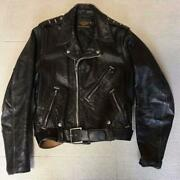 Harley The 50s Vintage Leather Jacket Buco Beck Size S Black Long Sleeves