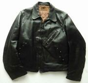 Taubers 40and039s Horsehide Riders Jacket Leather Jean Size M Vintage Outer