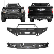 Front Rear Bumpers W/ Led Square Lights And D-rings Fit 2009-2014 Ford F150 Pickup
