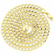 14k Yellow Gold 5.5mm Solid Pave Two-tone Curb Chain Necklace 18 To 26