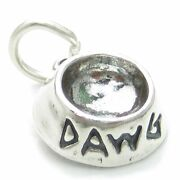 Dawg Dish Sterling Silver Charm .925 X 1 Dog Dishes Bowl Bowls Charms.