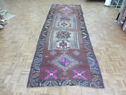 4and0397 X 14 Wide Runner Hand Knotted Brown Turkish Oushak Oriental Rug G9796