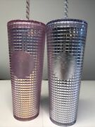 Lot Starbucks Pink Grid Silver Grid Disco Holiday 2020 Cold Cup Tumbler Inhand