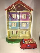 Peppa Pig Lights And039nand039 Sounds Family Home Playset 22 Doll House W/ Red Car
