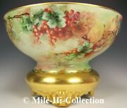 Huge Bavaria Hand Painted Goose Berries 16 Punch Bowl+ Plinth Base Stand