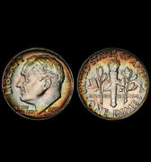 Ms65 1961 10c Roosevelt Silver Dime, Pcgs Secure- Rainbow Toned, Great Luster