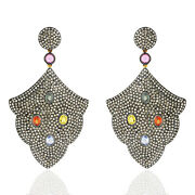 18k Yellow Gold Pave Diamond Sapphire Sterling Silver Dangle Earrings For Gift