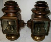 Pair Early Maxwell No. 10 Script Brass Oil Sidelamps