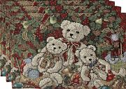 Set Of 3 Tapestry Placemats13x193 Teddy Bearsnutcracker And Christmas Treevl