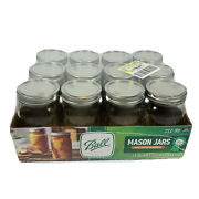New Sealed Ball 32oz Quart Wide Mouth Canning Mason Jar Lids Bands Clear Glass
