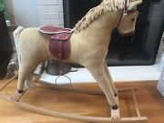 Vintage German Rocking Horse. Good Condition. Wood Leather.