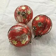 W German Vintage Gold Wire Wrapped Glass Christmas Ornaments Beads Stickers